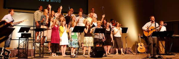 worship team with choir